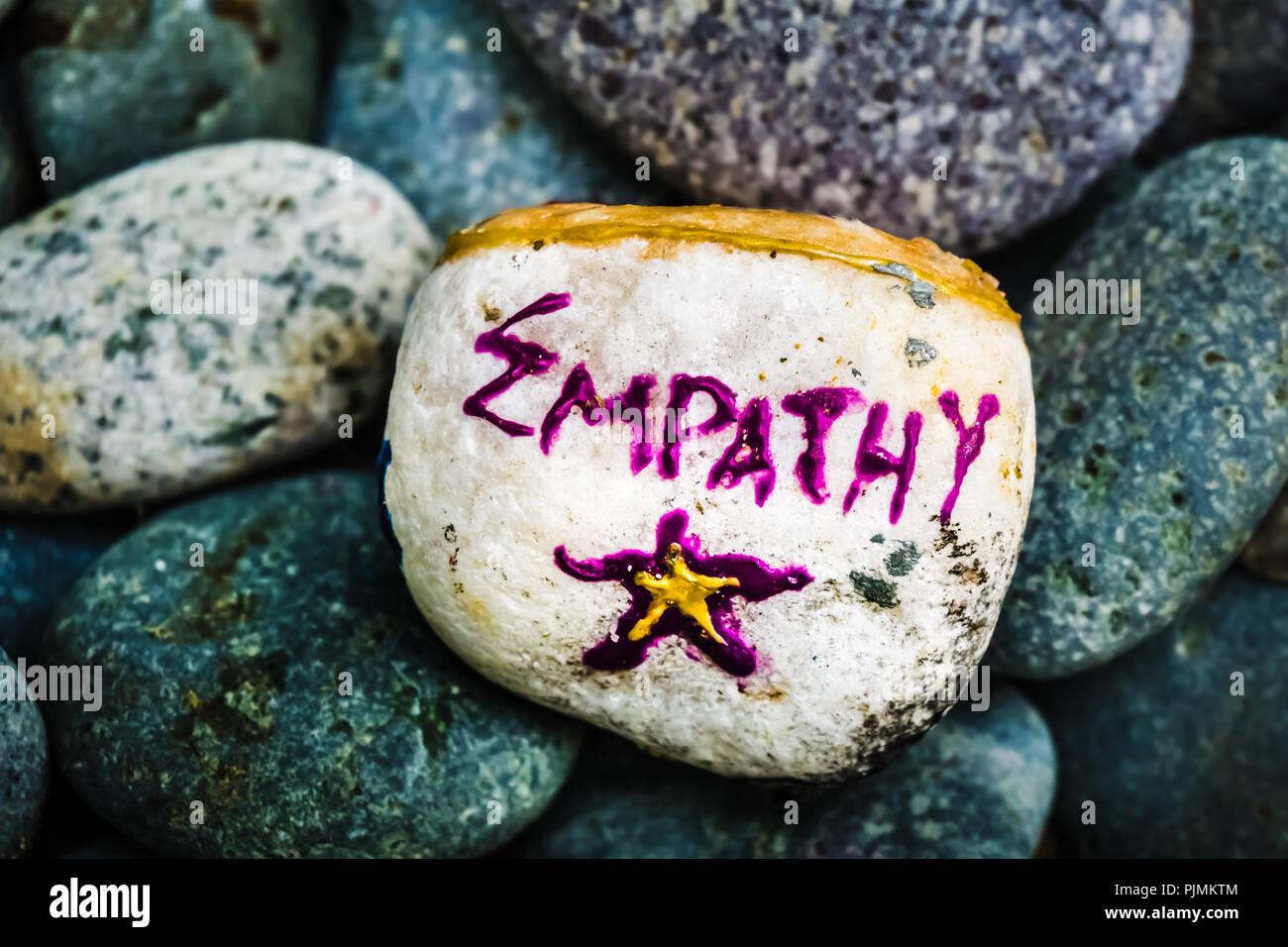 Pintura de piedra - empatía y estrella Imagen De Stock