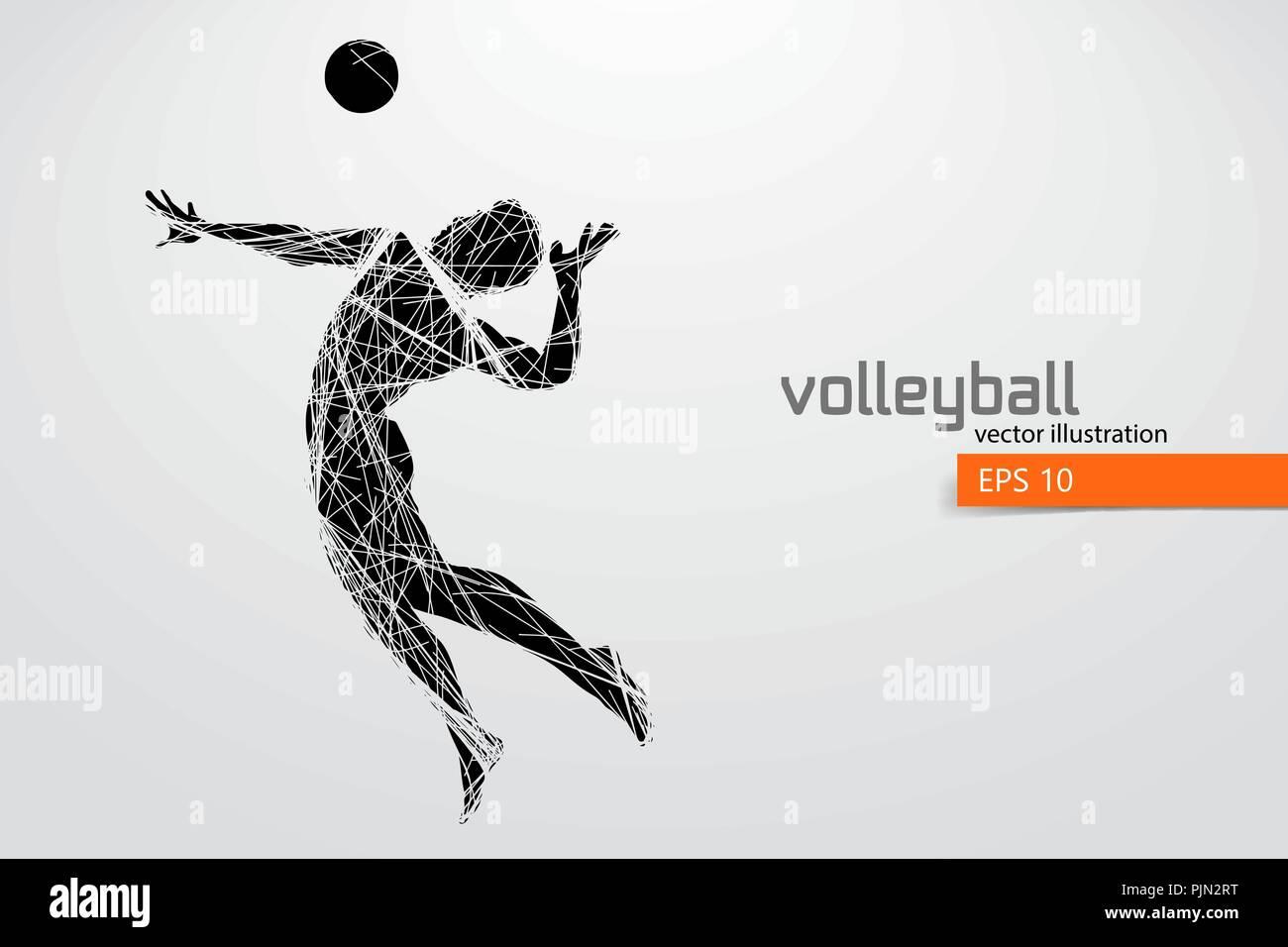 Silueta de jugador de voleibol. Antecedentes y texto en una capa  independiente 57b53d056271b
