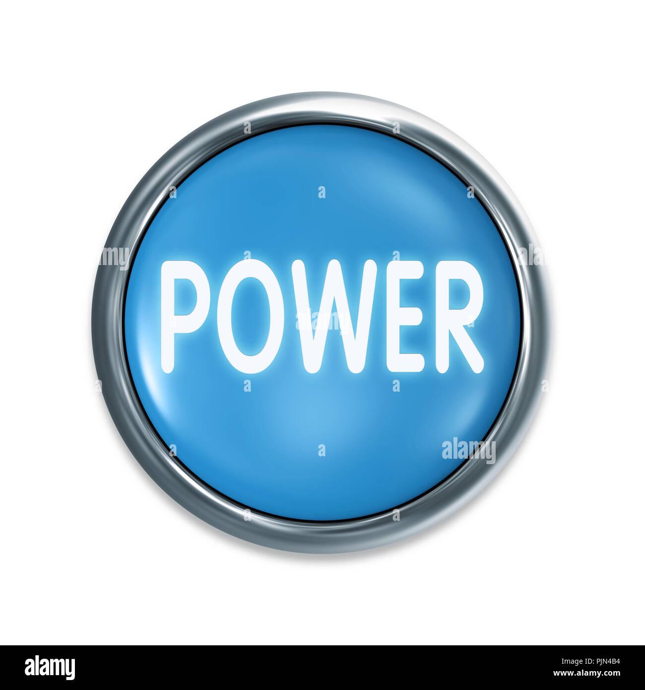 """""""Un botón azul de inicio antes de fondo blanco, con la etiqueta: ''Poder''', Ein blauer Startknopf vor weissem, Aufschrift Hintergrund: 'energía' Foto de stock"""