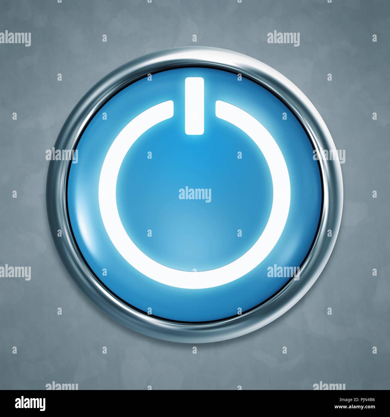 Un botón azul de inicio antes de fondo gris, Ein blauer Startknopf grauem Hintergrund vor Foto de stock