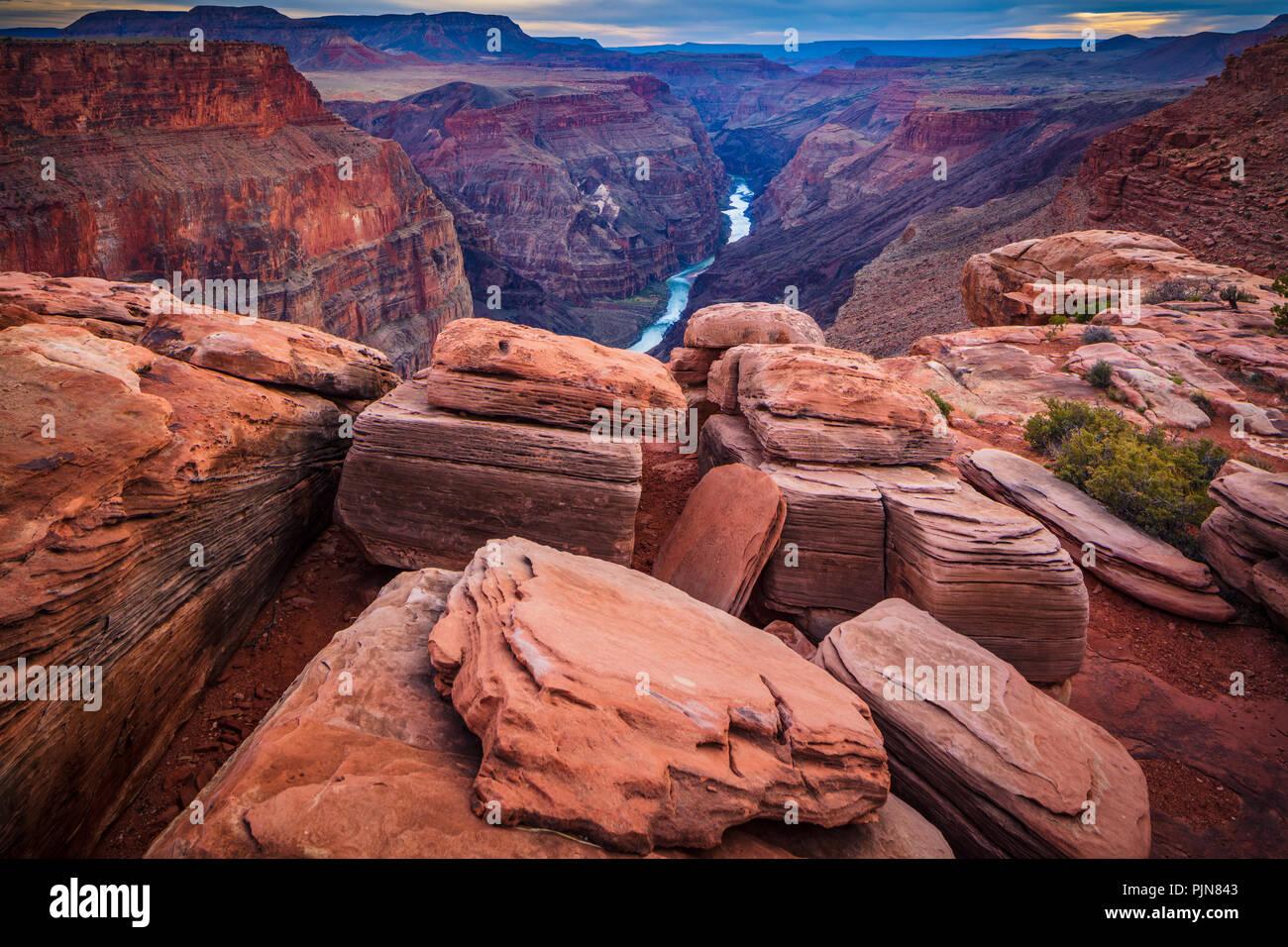 Grand Canyon Toroweap de punto. El Gran Cañón es una escarpada cara cañón tallado por el Río Colorado en el estado de Arizona. Foto de stock