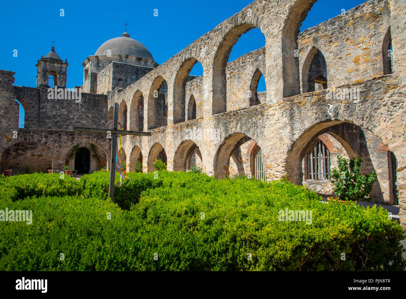 La misión de San José y San Miguel de Aguayo es un histórico de la misión católica en San Antonio, Texas, EEUU. Imagen De Stock