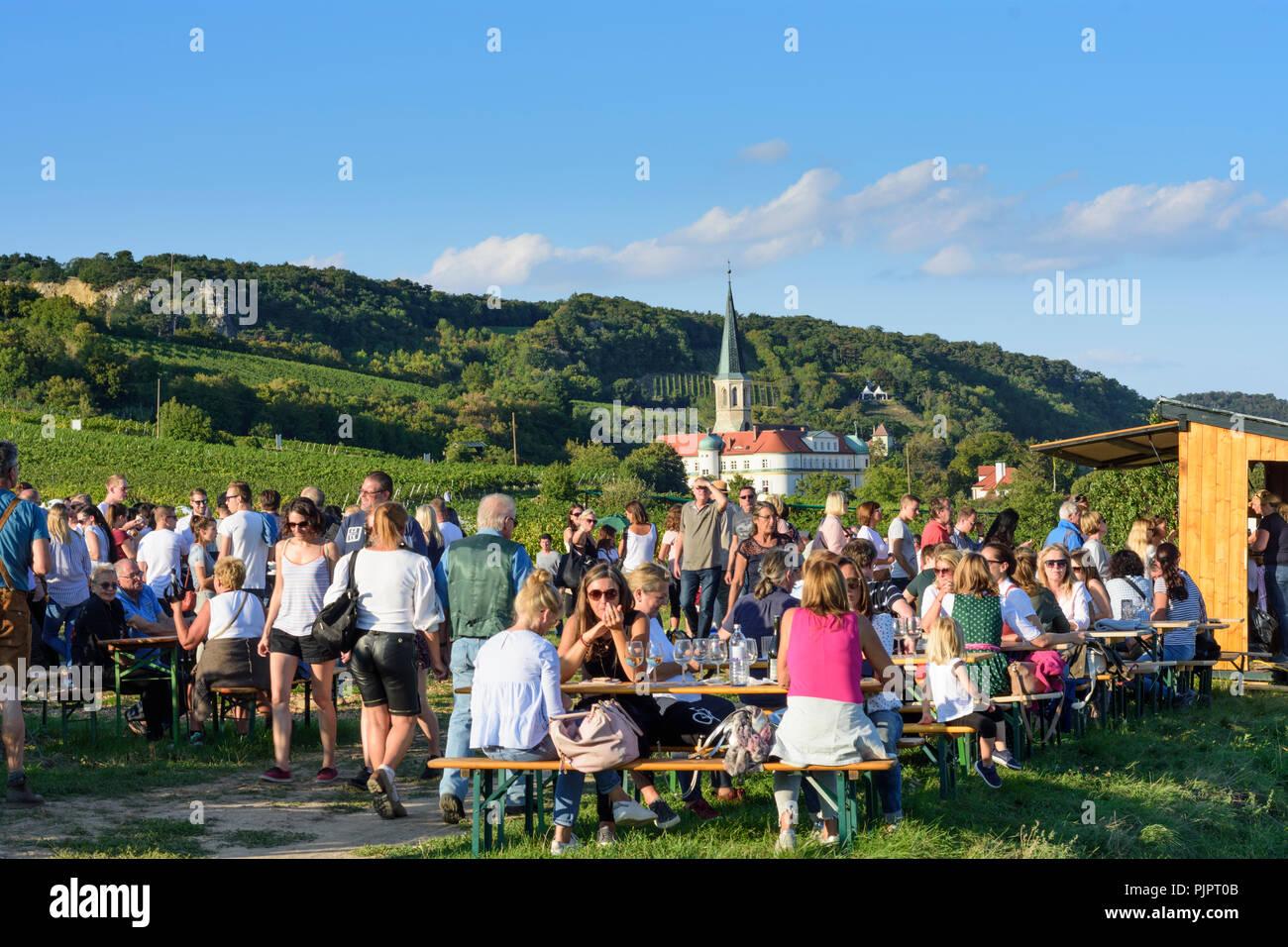 Gumpoldskirchen: Deutschordensschloss Orden Alemán (Castillo), viñedo, bar en el festival 'Genussmeile' a lo largo de 1ª ruta de senderismo de la tubería de agua de Viena, winegro Foto de stock