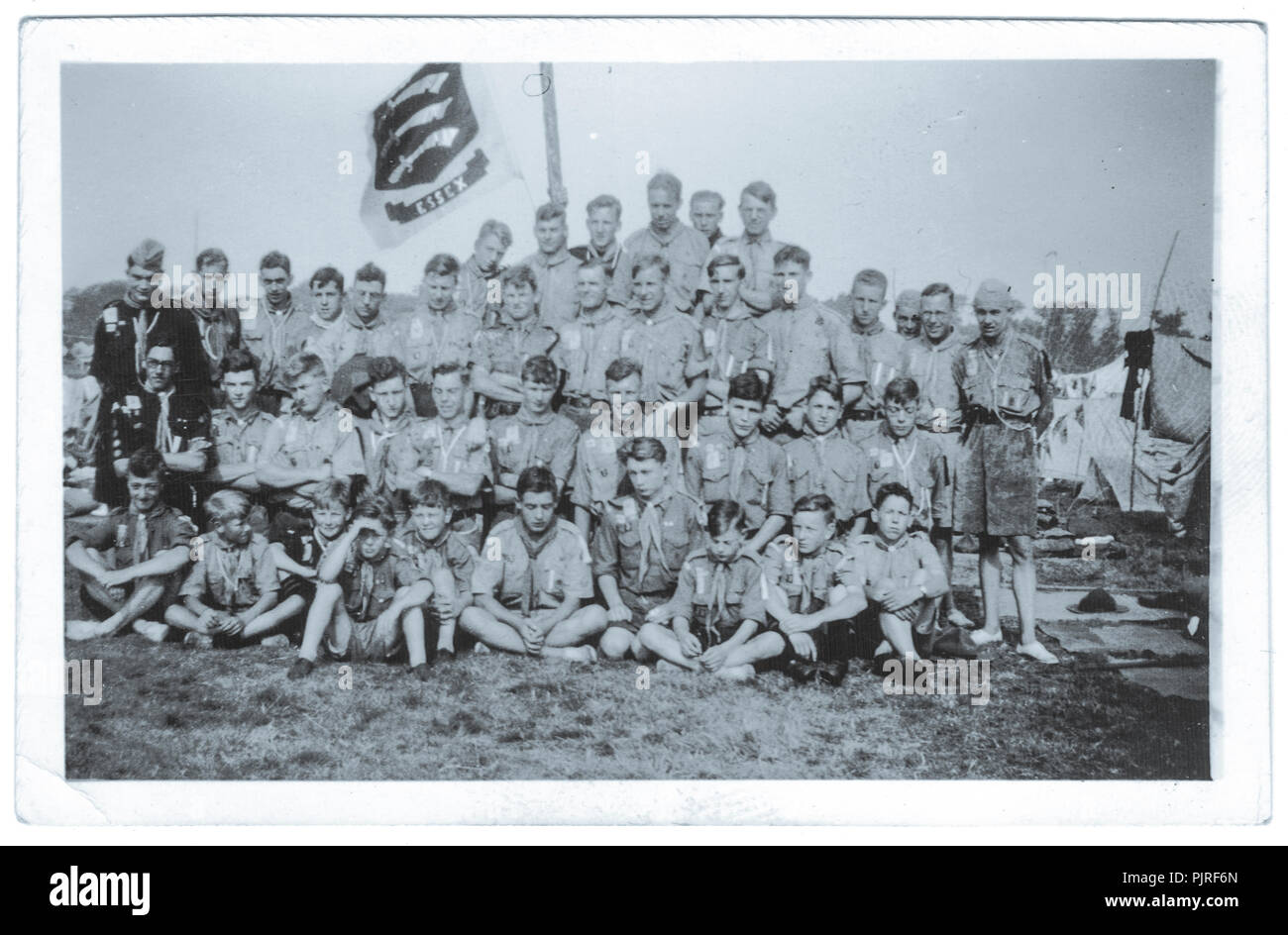 Essex tropa scout en el 5º Jamboree Scout Mundial, celebrada en Bloemendaal Vogelenzang Holanda, Holanda,1937 Foto de stock
