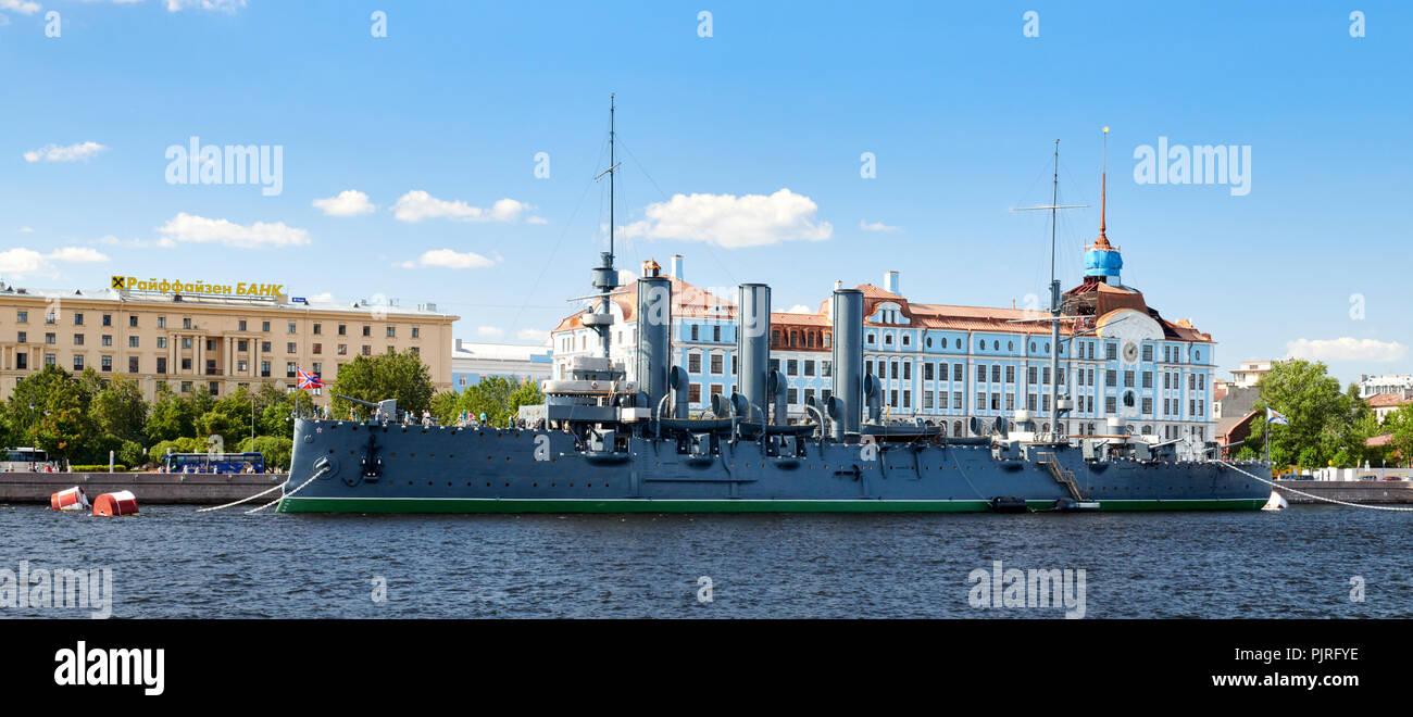 Crucero Aurora en San Petersburgo, Rusia. Foto de stock