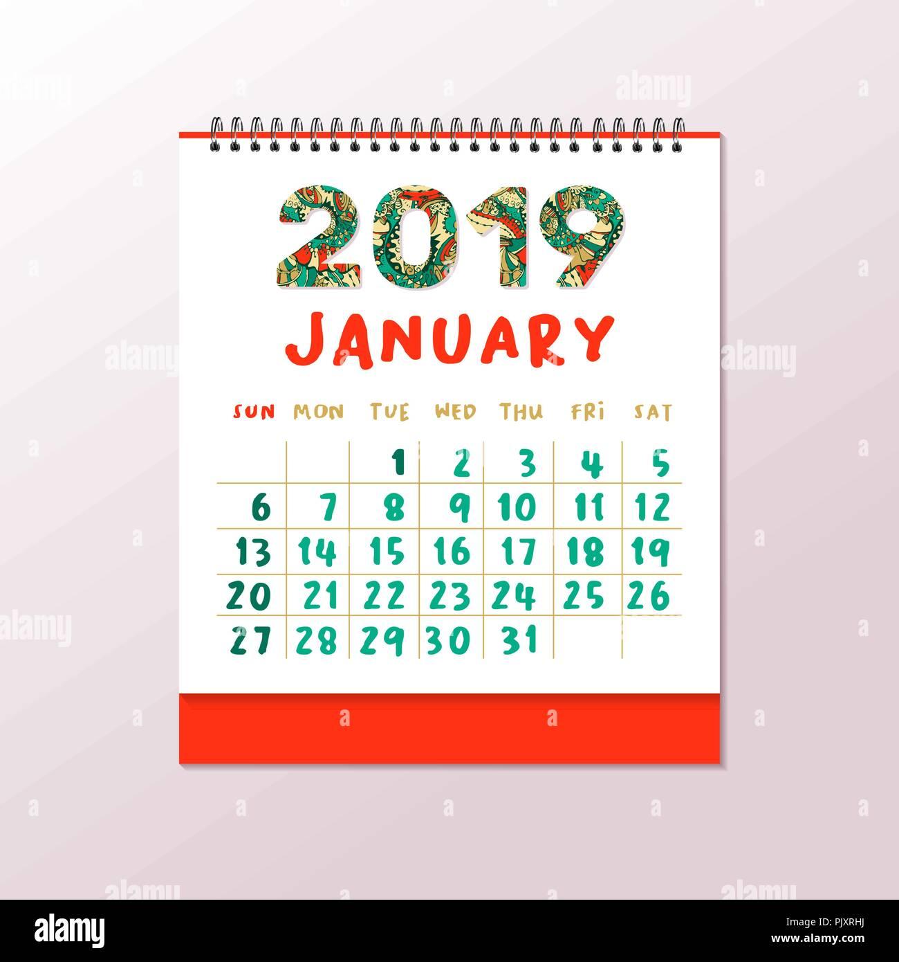 2019 calendario de mesa a4 horizontal vector plantilla imprimible blanco garabatos coloridos - Plantilla calendario de mesa ...