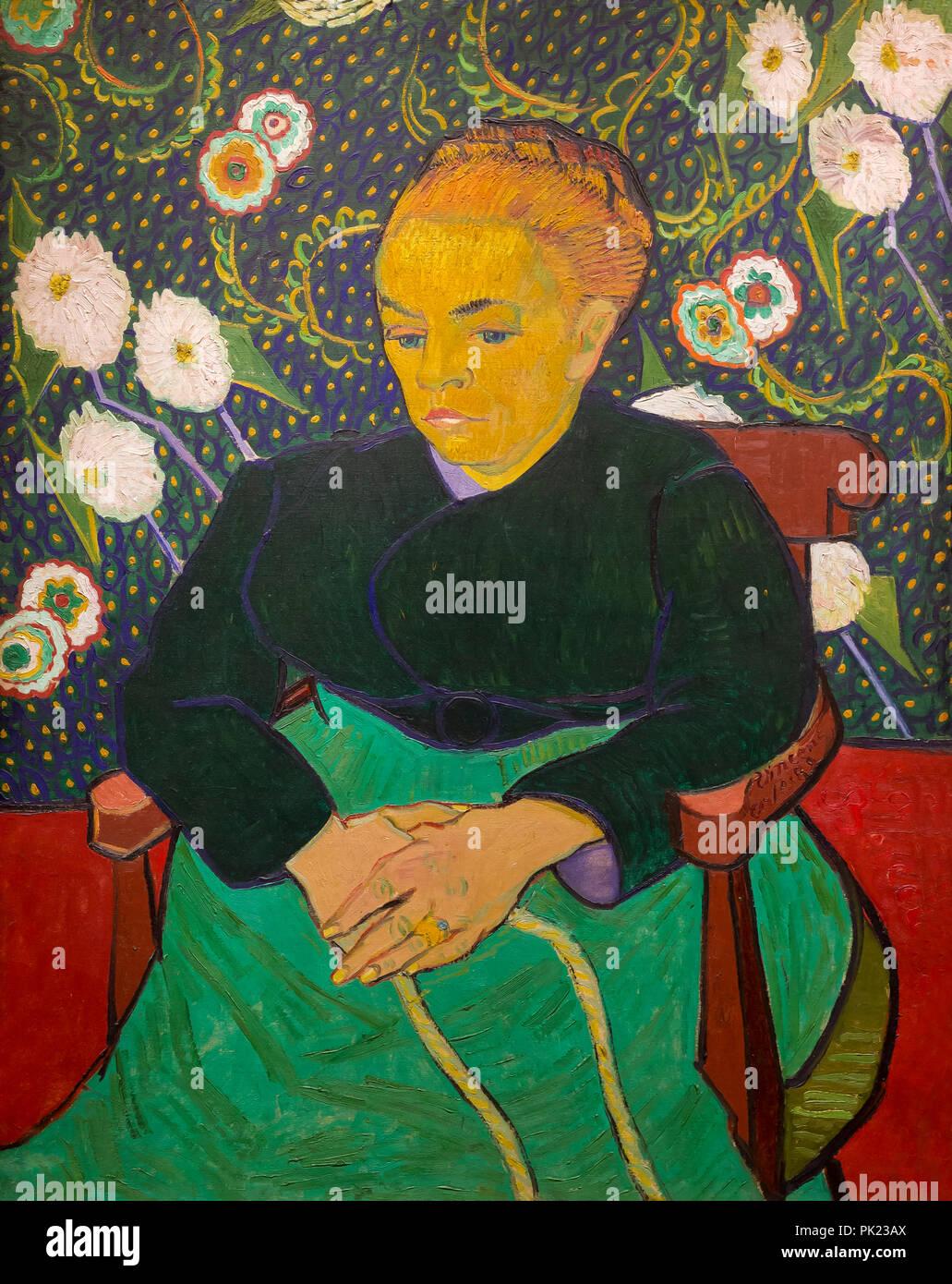 Madame Roulin Meciendo la cuna, La Berceuse, Vincent van Gogh, 1889, Instituto de Arte de Chicago, Chicago, Illinois, EE.UU., América del Norte, Imagen De Stock