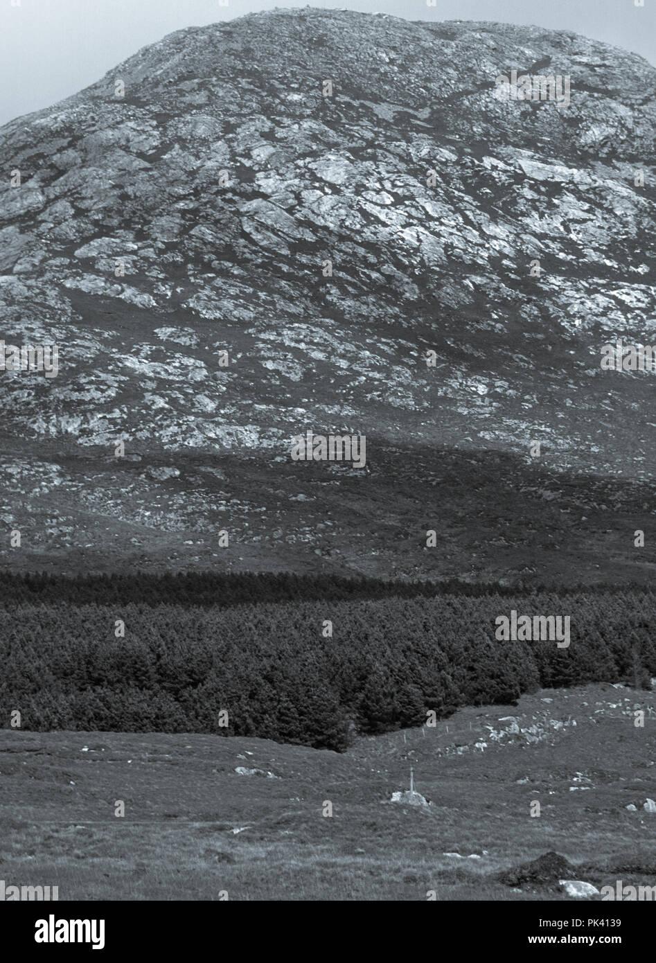 Blanco y negro, paisaje de bosques y montañas remotas en Connemara, Condado de Galway, Irlanda Foto de stock