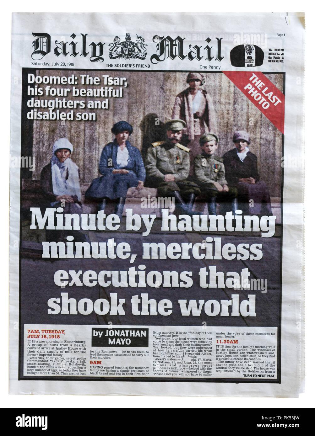 Portada del Daily Mail en conmemoración al centenario de la ejecución de los Romanov en 1918. Imagen De Stock