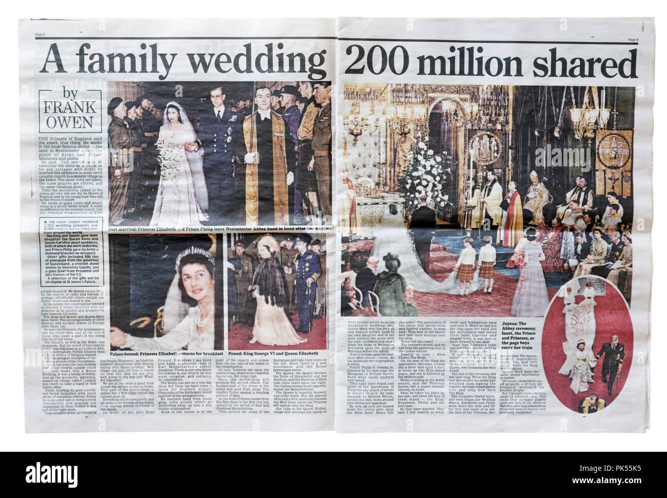 Un artículo en el Daily Mail celebra la boda de la Princesa Isabel con el Príncipe Philip, Duque de Edimburgo el 21 de noviembre de 1947 Imagen De Stock
