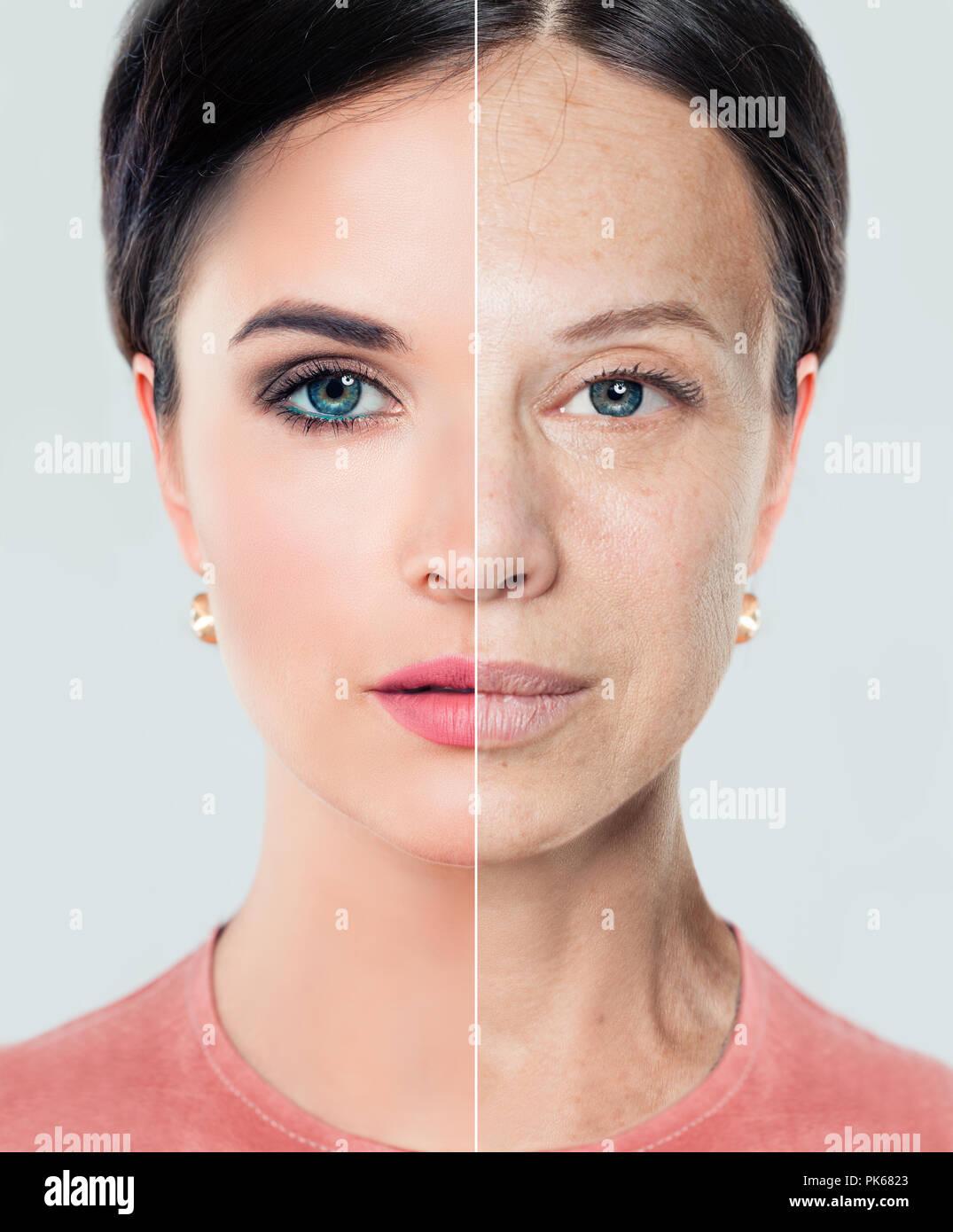 El envejecimiento y el concepto de juventud. Hermosa mujer con problema y limpiar la piel, tratamientos de belleza y elevación. Antes y después, la juventud y la vejez. Proceso de ag Imagen De Stock