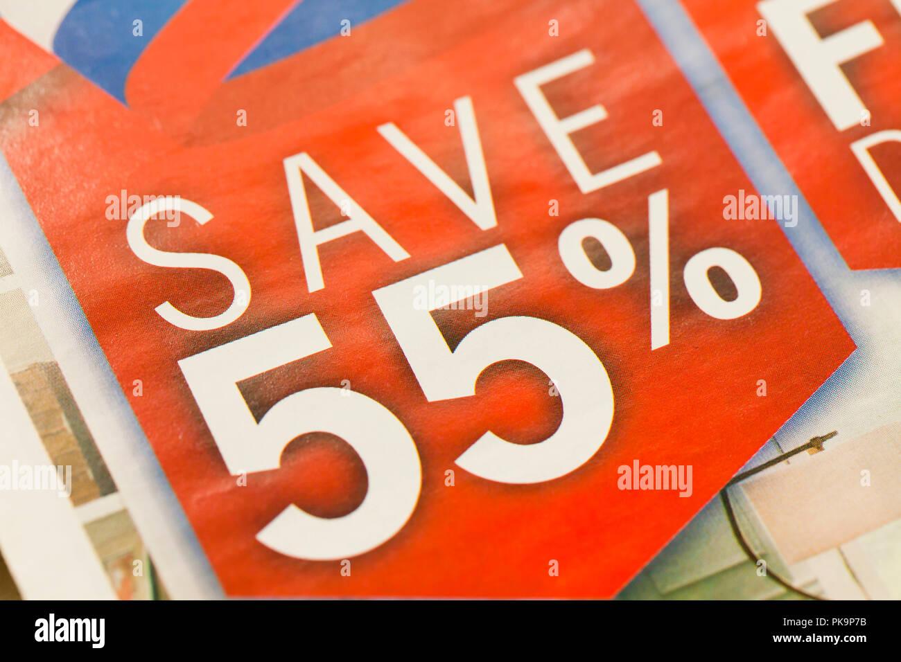 Save 55%  mensaje en publicidad impresa - EE.UU Foto   Imagen De ... 64572f0a418