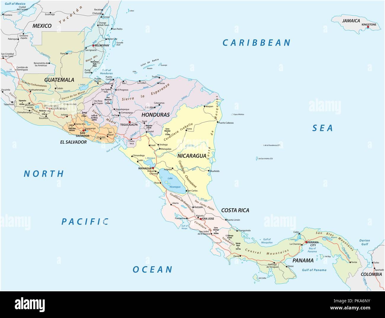 Vector mapa de carreteras de los Estados de América central. Imagen De Stock