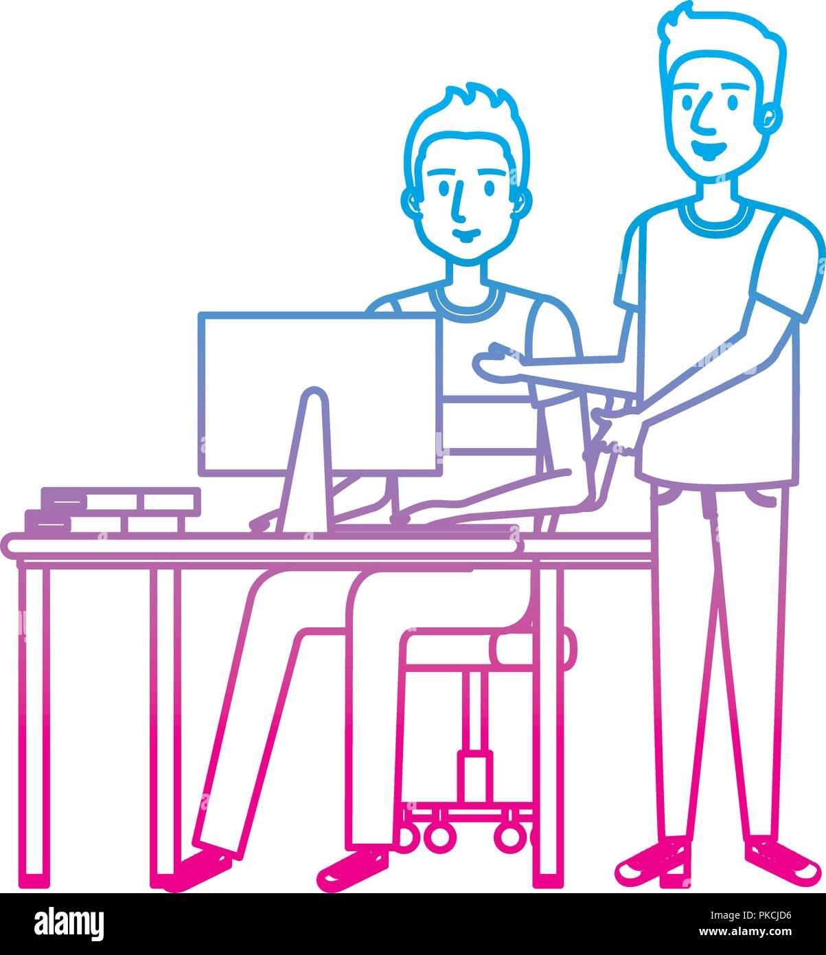 Joven y escritorio con ordenador y compañeros Imagen De Stock