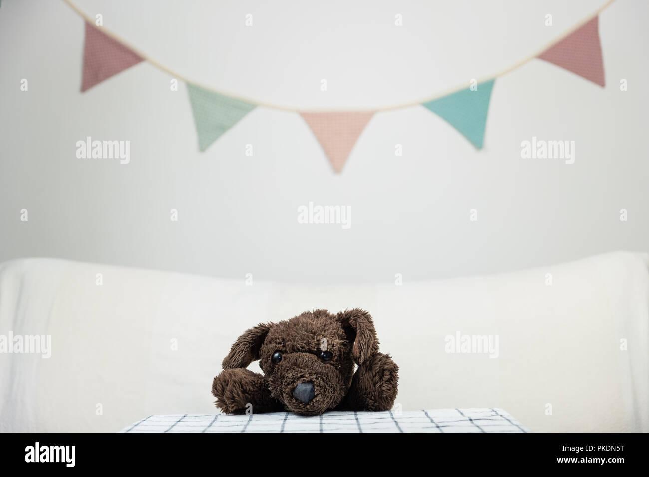 Los niños parte concepto con fluffy perro de juguete en la mesa. Imagen De Stock