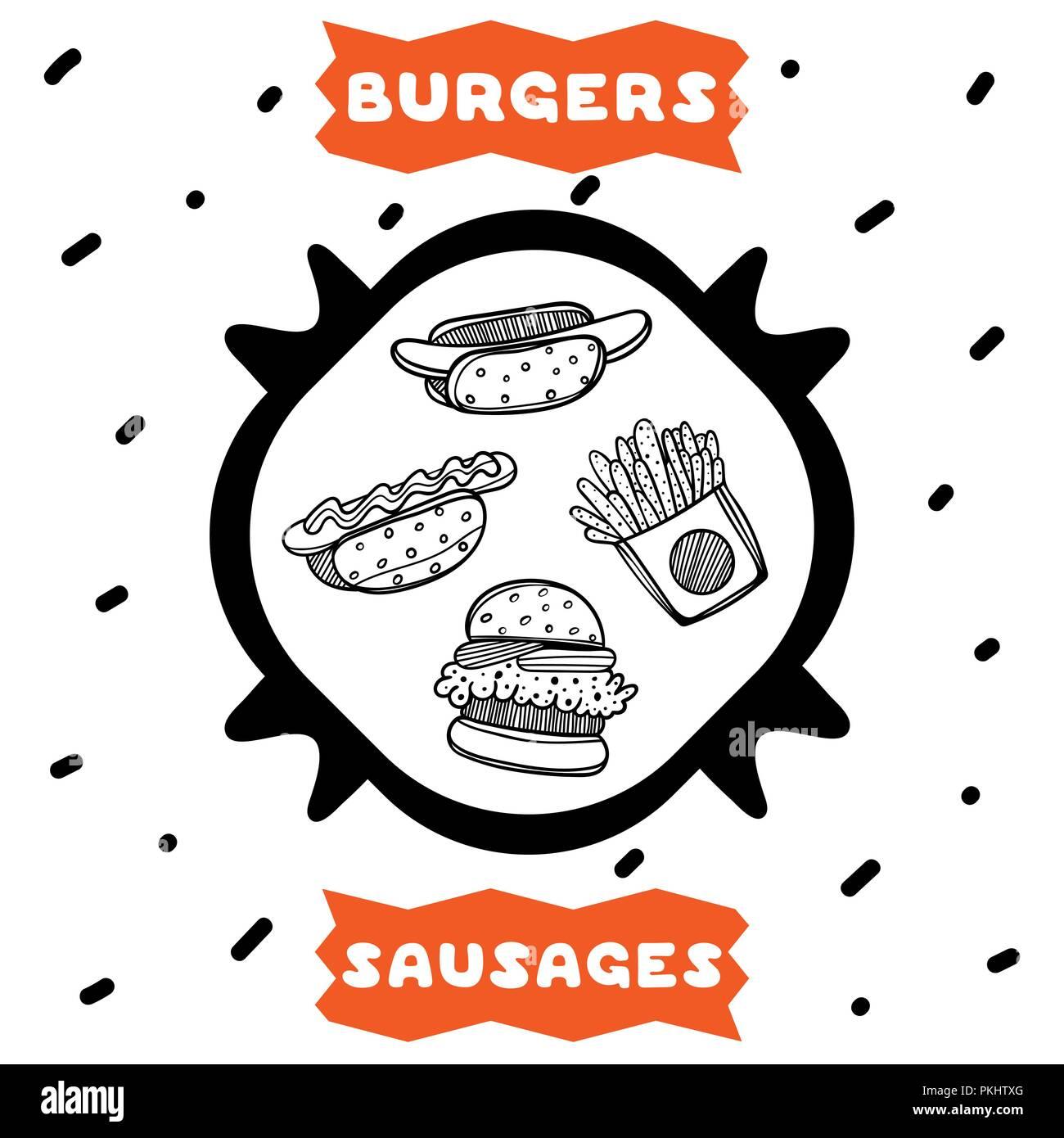 Cute Poster Dibujado A Mano De Estilo Sketch Cafe Con Hamburguesas