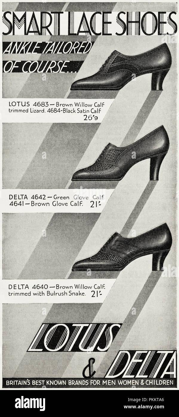 b27b6067a091 1930 original vintage antiguo anuncio publicitario adaptado de tobillo  señoras zapatos por Lotus   Delta en