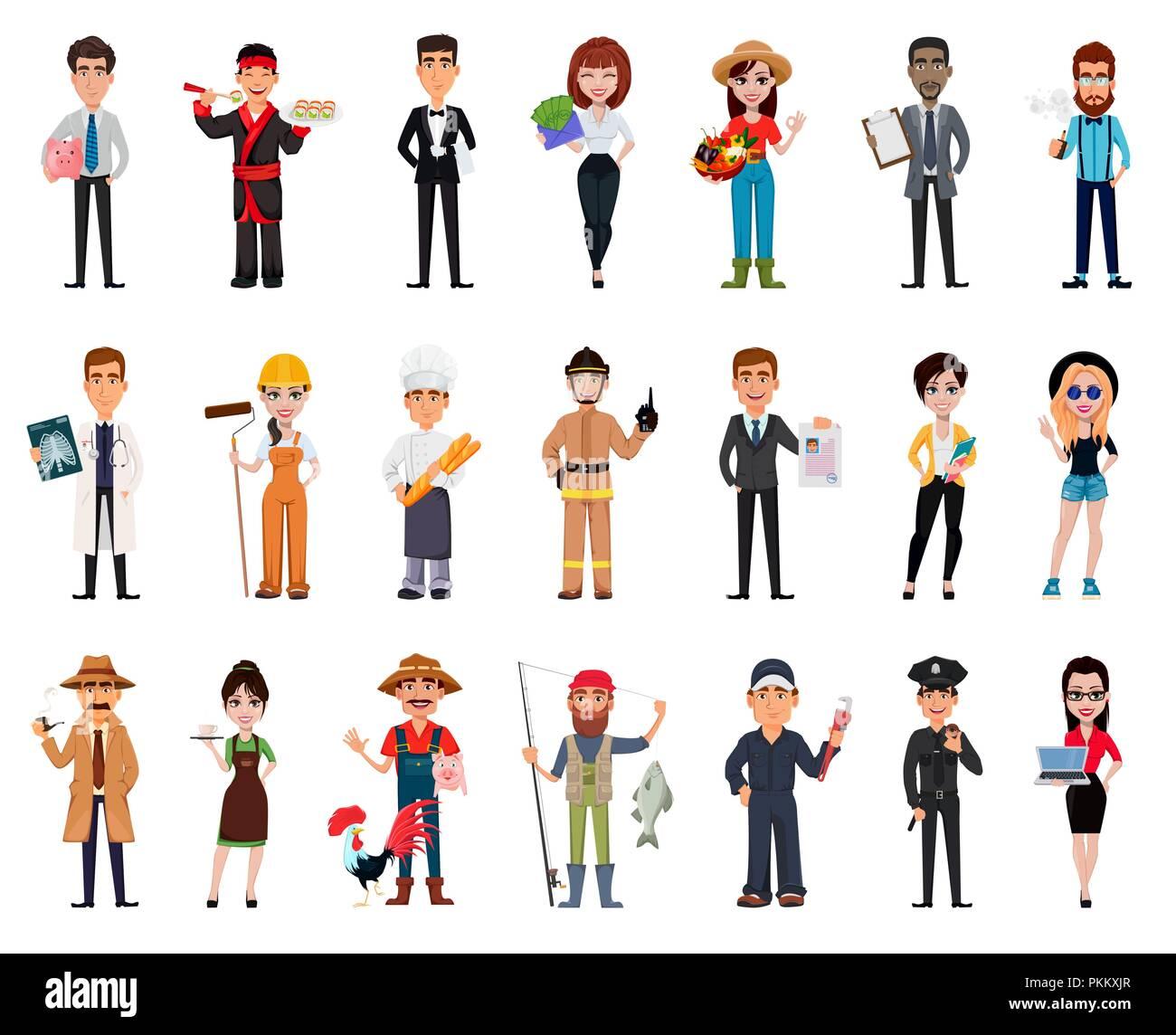 Personas De Diferentes Profesiones Conjunto De Veinte Uno