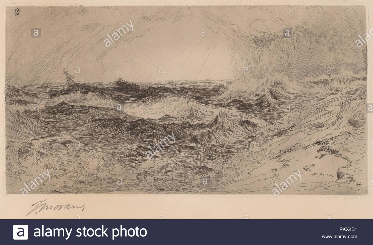 El resonante mar. Fecha: 1880. Dimensiones: placa: 10.6 × 20.2 cm (4 × 7 3/16 15/16) Hoja: 19.1 × 30.4 cm (7 1/2 x 11 15/16). Medio: grabado en negro. Museo: La Galería Nacional de Arte, Washington DC. Autor: Thomas Moran. Imagen De Stock
