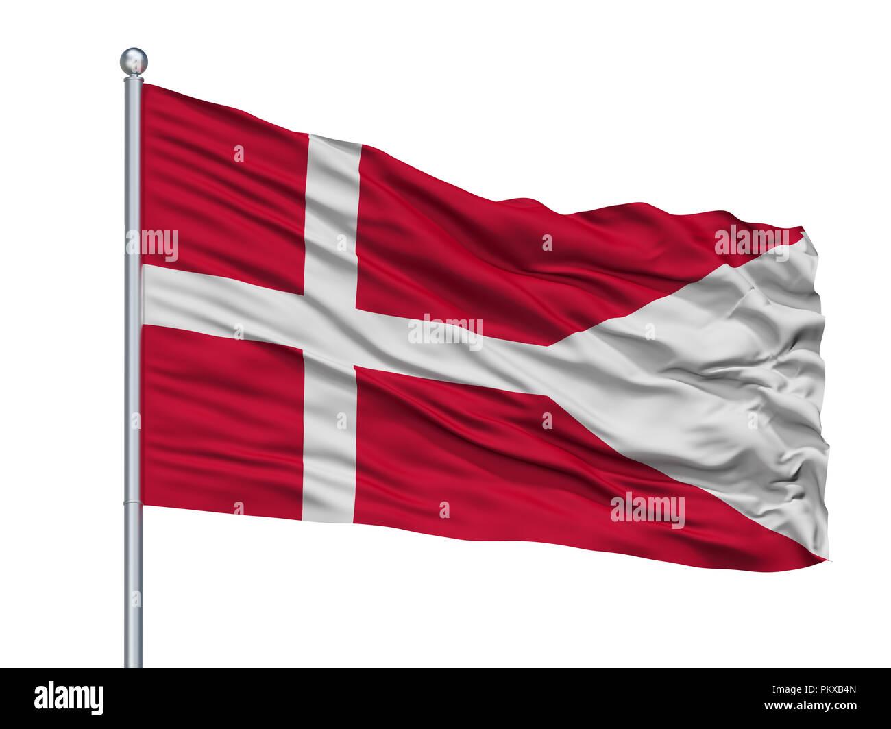 Dinamarca Naval Ensign bandera en un mástil, aislado sobre fondo blanco, 3D Rendering Foto de stock