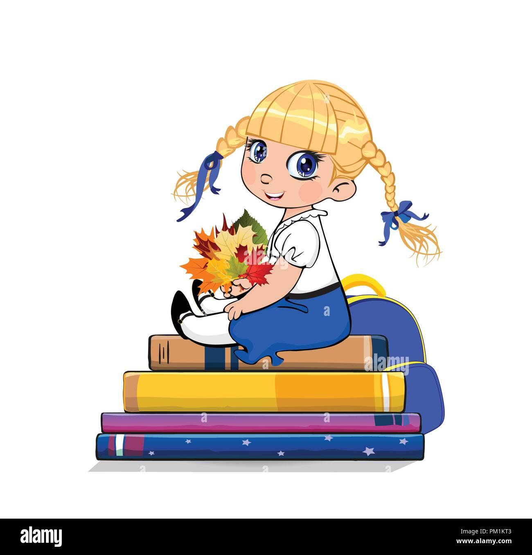 Niña De La Escuela De Dibujos Animados En Uniforme Sentado En Libros