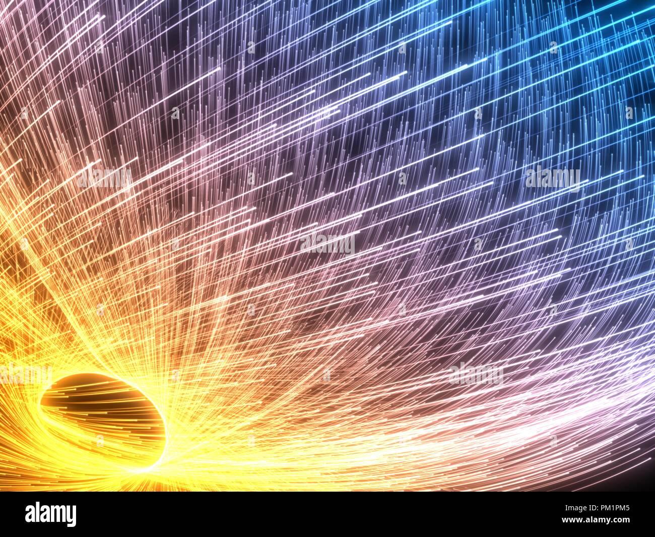 Enjambre de partículas que fluyen con brillantes estelas. Ilustración 3d. Foto de stock