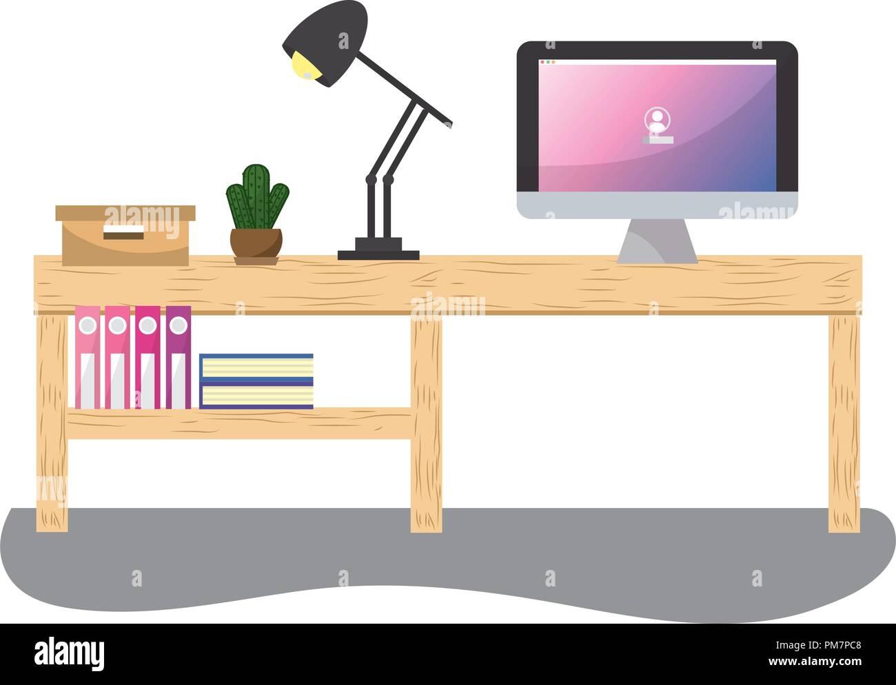 y una de ordenador libros con despacho lámpara con Mesa lF3T1cJK