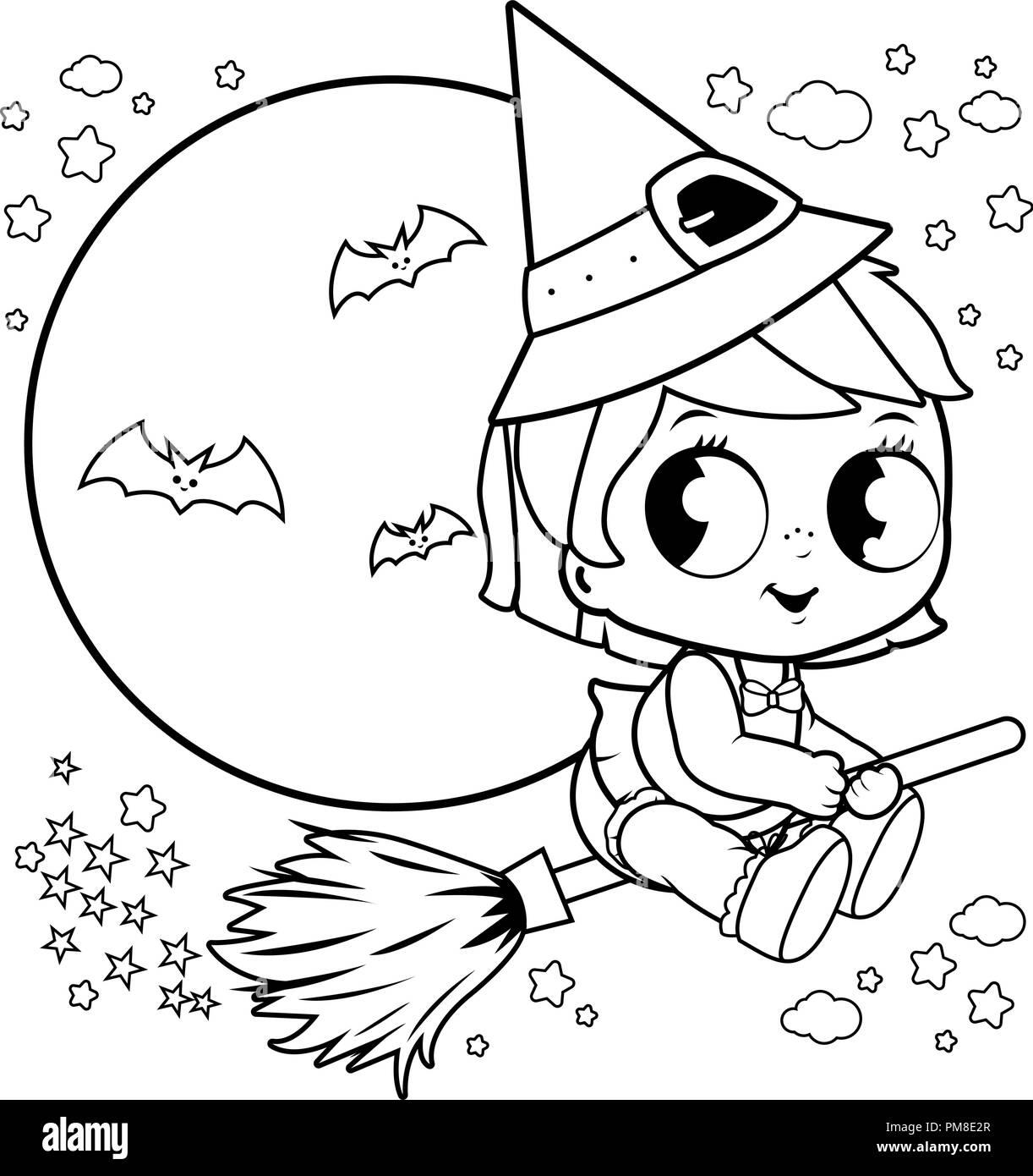 Bebé Halloween Bruja Volando Con La Escoba En El Cielo Nocturno