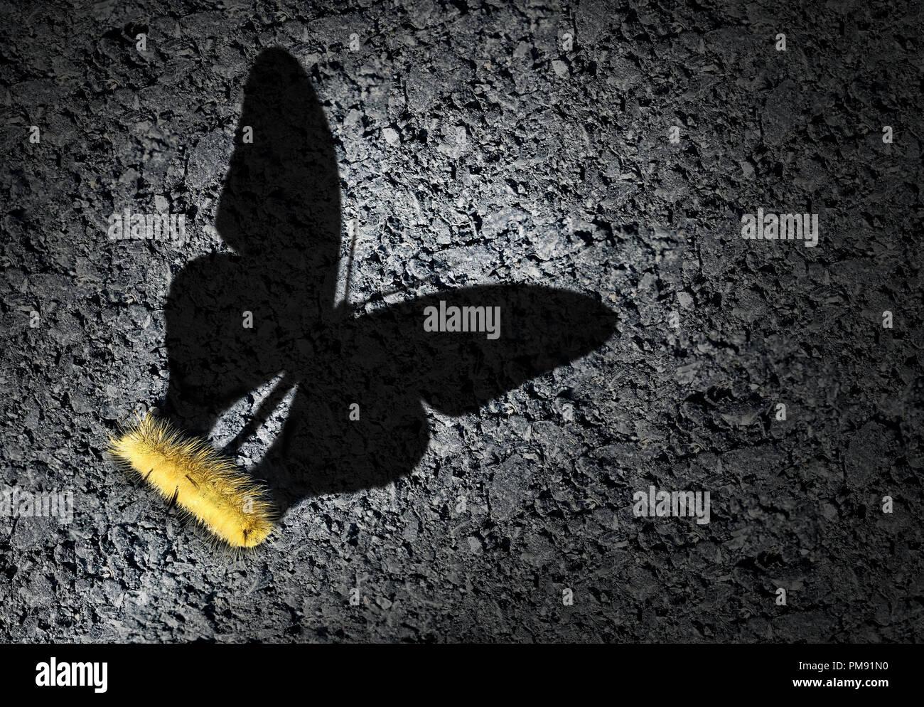 Concepto de aspiración y ambición como una idea de Caterpillar una sombra odf una mariposa como un logro y esperanza para el futuro éxito. Imagen De Stock
