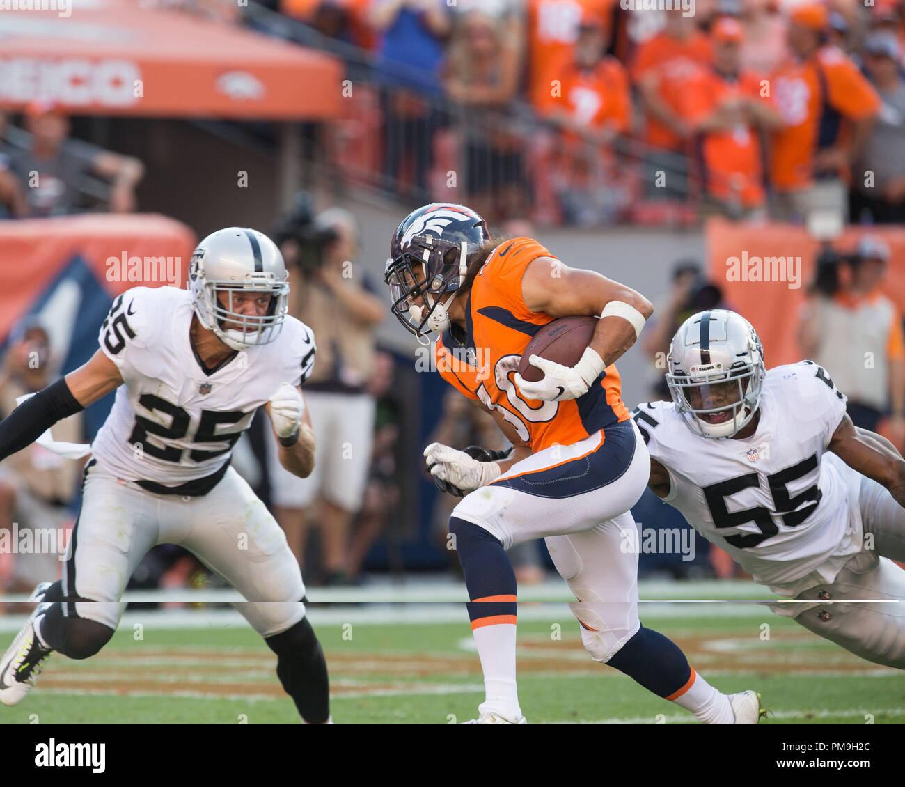 Septiembre 16, 2018: Denver Broncos volver corriendo Phillip Lindsay ...