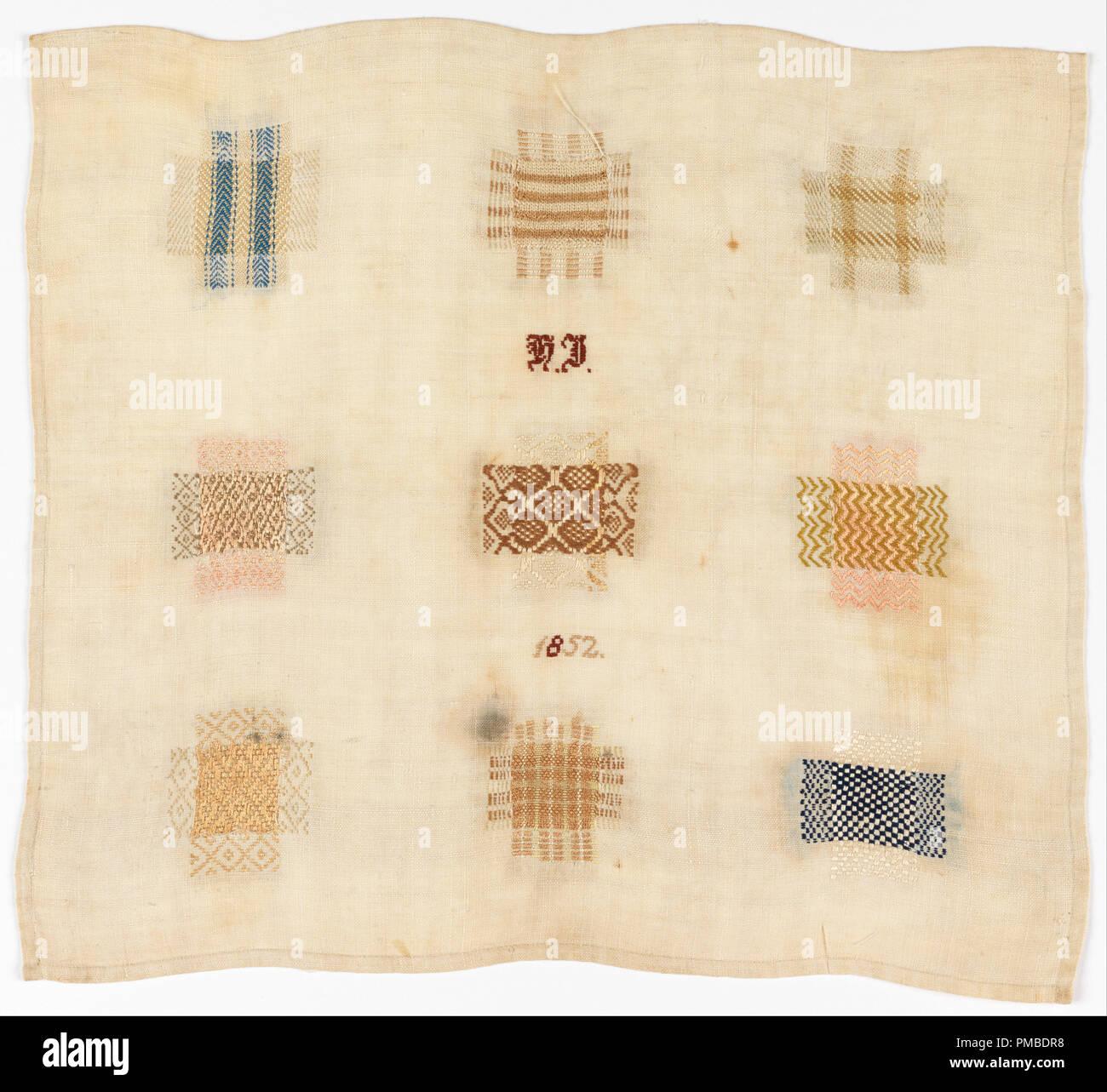 Zurcir sampler. Fecha/período: 1852. Zurcir sampler. Medio: seda ...