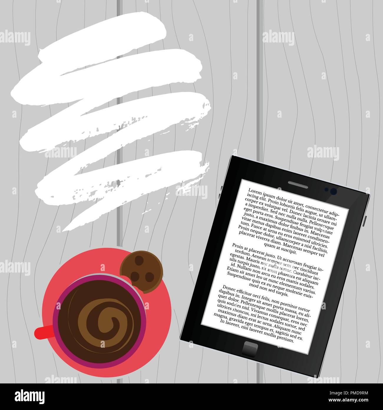 La lectura de los e-book con una taza de café, el café de lectura electrónica Ilustración del Vector