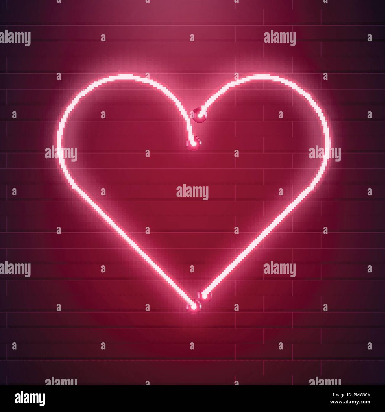 Corazón De Neón Signo Luz Fluorescente Roja Ilustración