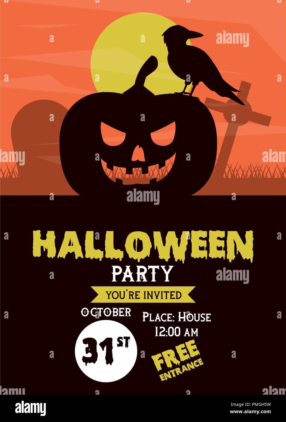 Tarjeta De Invitación A Una Fiesta De Halloween Ilustración