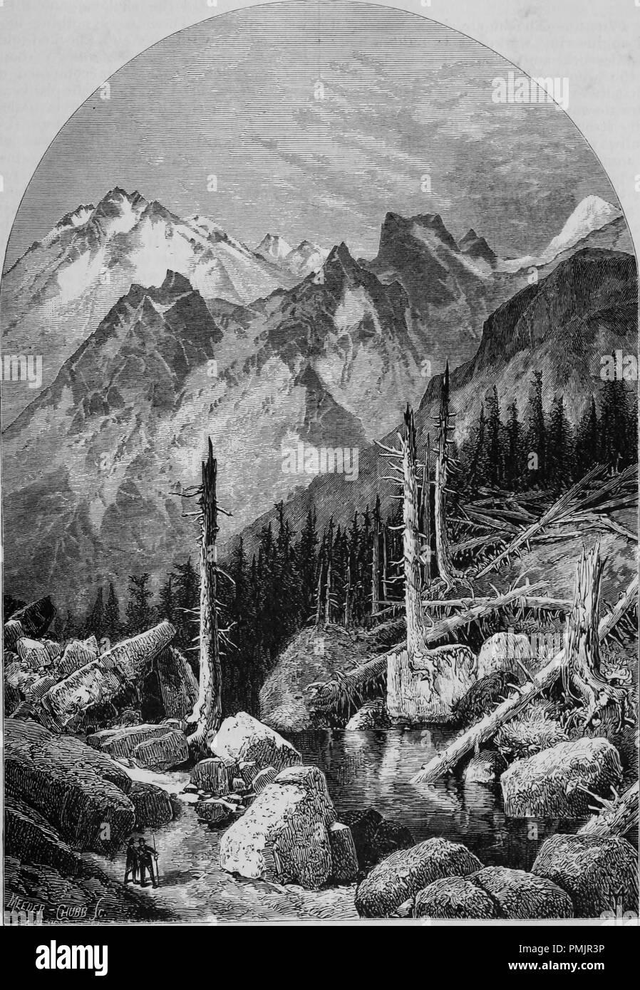 """Grabado de las cumbres de Sierra Nevada, desde el libro """"El Turismo del Pacífico"""", 1877. Cortesía de Internet Archive. () Imagen De Stock"""