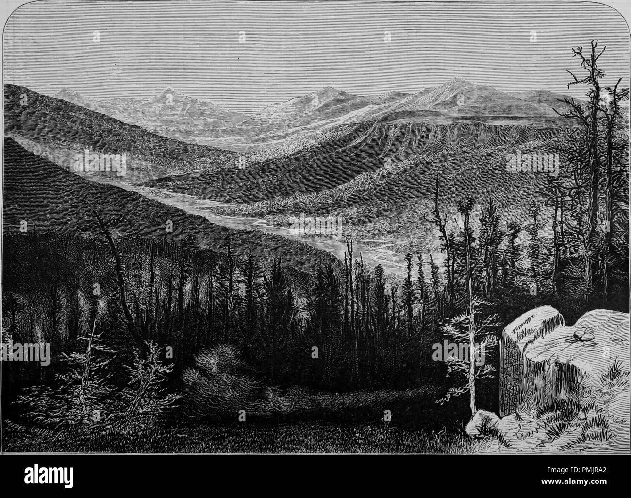 """Grabado de Gilbert's Peak en las montañas Uinta, del libro """"El Turismo del Pacífico"""", 1877. Cortesía de Internet Archive. () Imagen De Stock"""