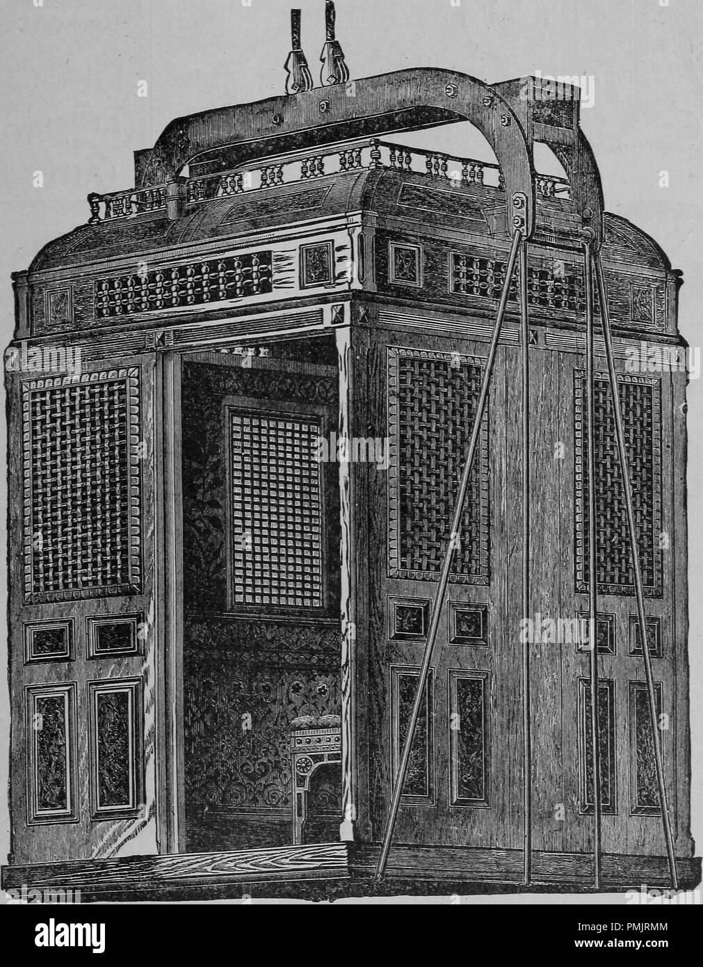 """Grabado de un ascensor de pasajeros, hecha por 'Wildey y Shackamaxon STS"""" de Filadelfia, del libro 'La guía oficial de la exposición colombina del mundo', de 1893. Cortesía de Internet Archive. () Imagen De Stock"""