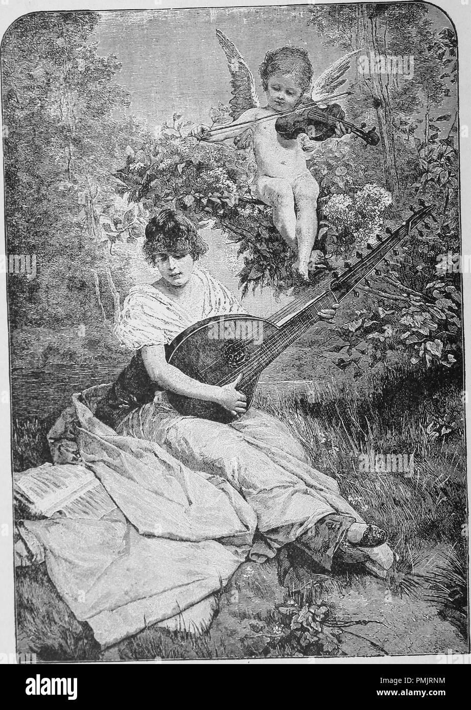 Grabado de una mujer joven con un ángel por encima de su hombro tocando música, del libro 'Nuestra sociedad', de 1891. Cortesía de Internet Archive. () Imagen De Stock