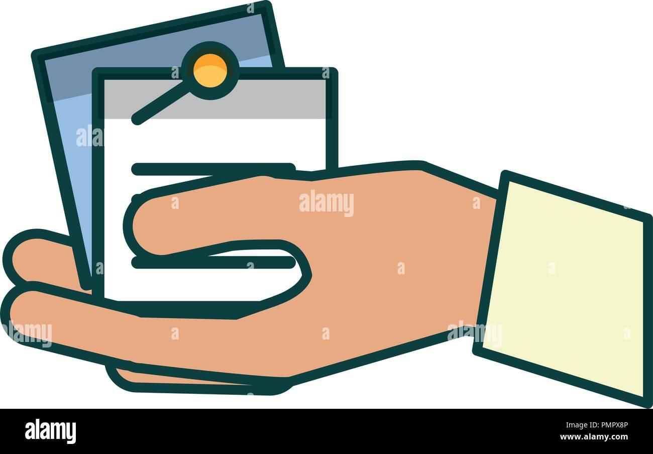 Mano con documentos en papel Imagen De Stock