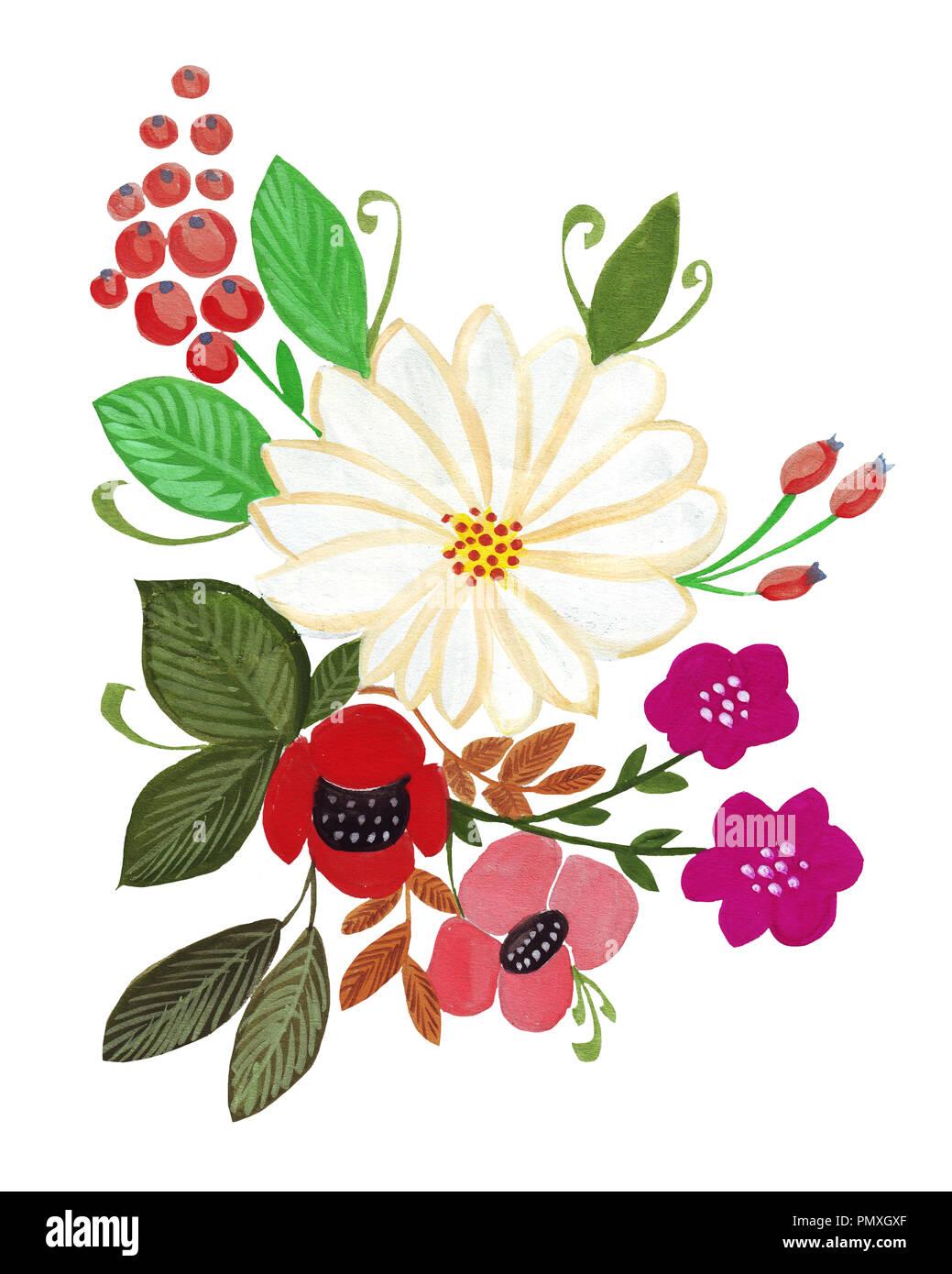 Ilustración De Dibujo A Lápiz Ramo De Flores De Colores Brillantes
