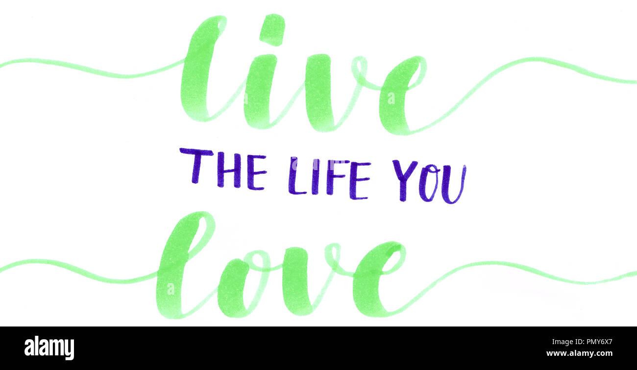 Vivir La Vida Que El Amor Hand Lettering Motivacional