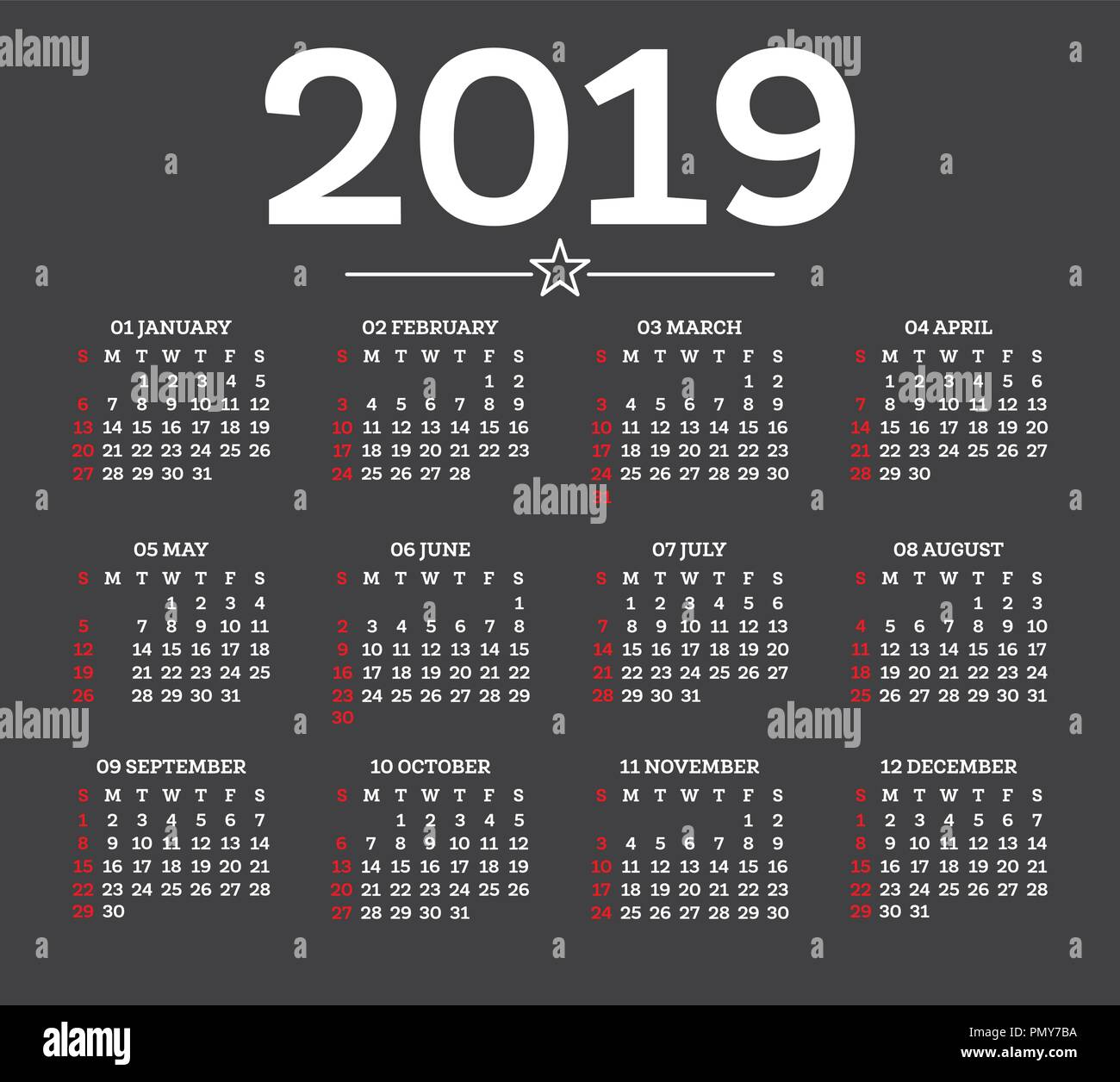 Simple 2019 Year Calendar Imágenes De Stock & Simple 2019