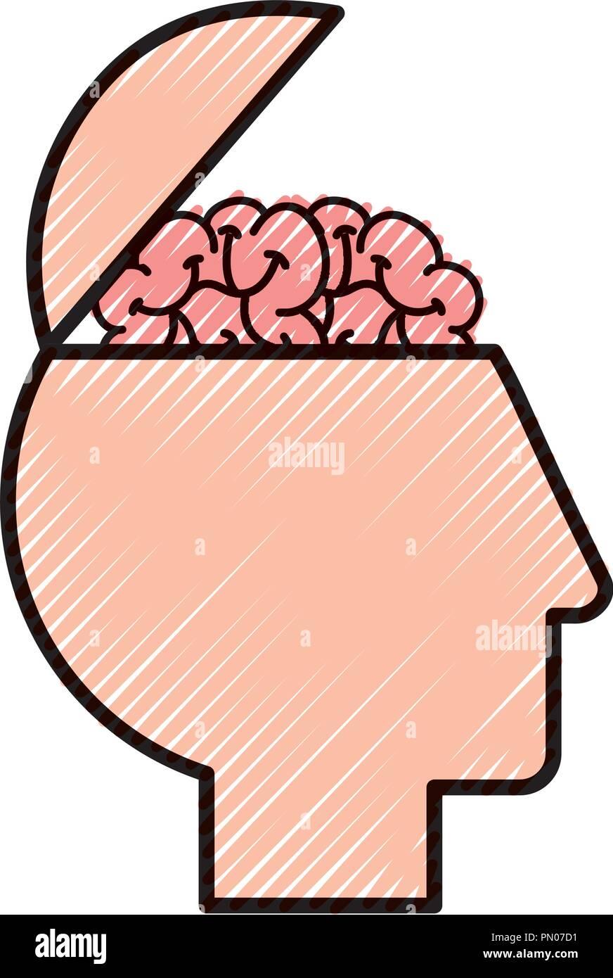 Perfil de cabeza humana cerebro medical Imagen De Stock