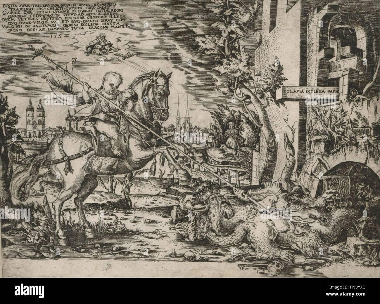 Das Christkind besiegt das Papstungeheuer - Allegorie auf