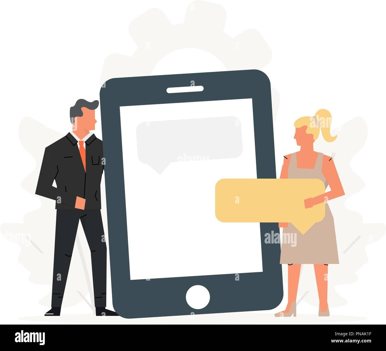 Las personas tienen un gran teléfono. Concepto de reunión de negocios, las relaciones virtuales, la datación en línea, redes sociales y chat móvil. Ilustración del Vector