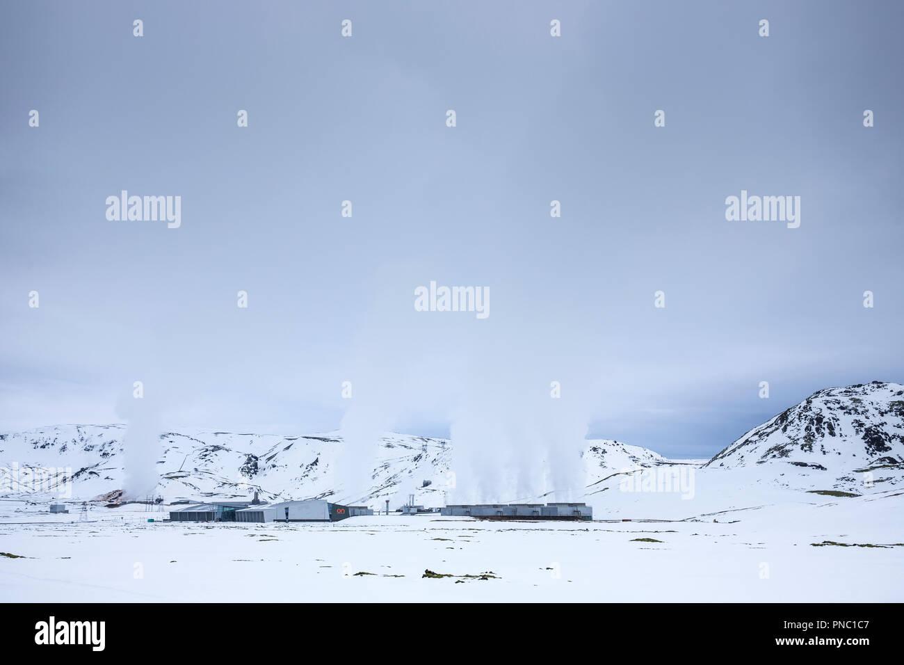Potencia Orka Natturunn, la energía de la naturaleza, energía verde planta geotérmica energía renovable, Reykjavik, el sur de Islandia Imagen De Stock