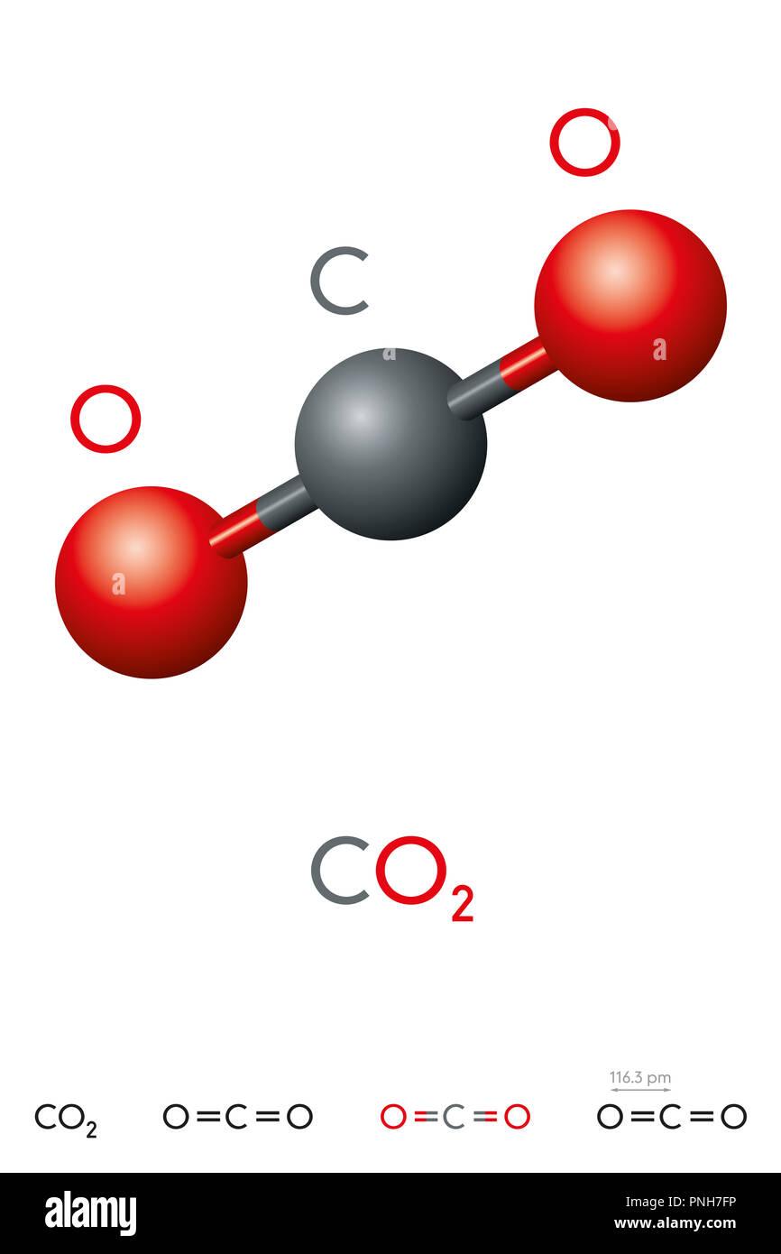 El dióxido de carbono, CO2, molécula modelo y fórmula química. Gas ácido carbónico. Gas incoloro. Bola-y-stick modelo, estructuras geométricas y fórmula. Imagen De Stock