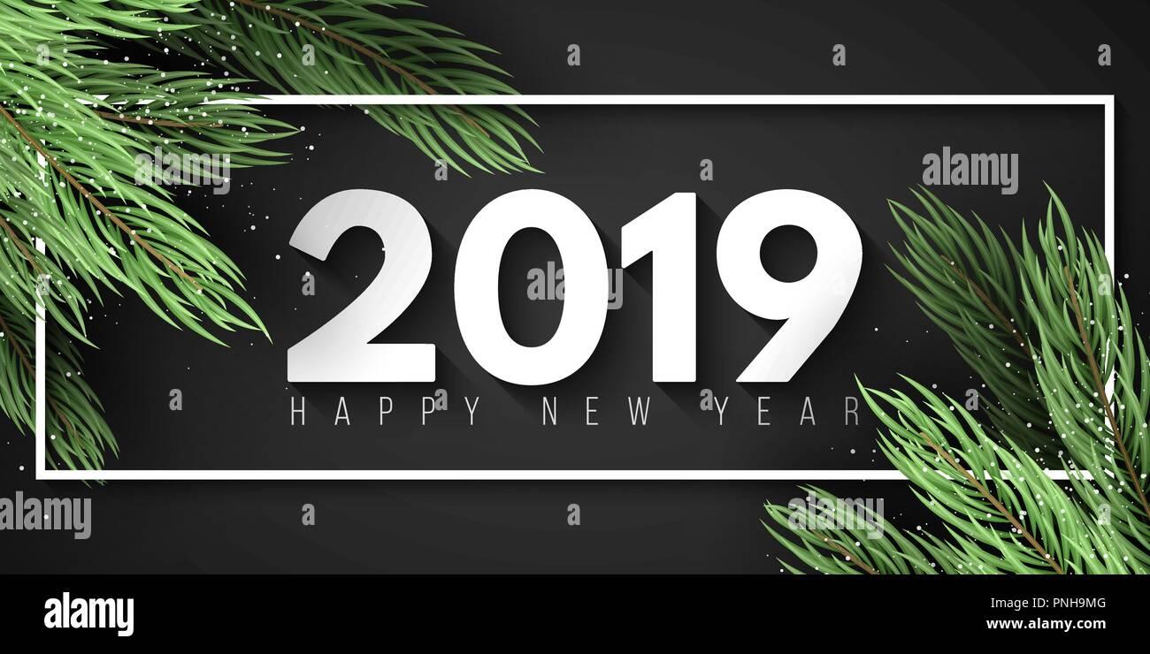 Marcos Para Fotos De Arbol De Navidad.Feliz Ano Nuevo 2019 Marco Blanco Arbol De Navidad Banner