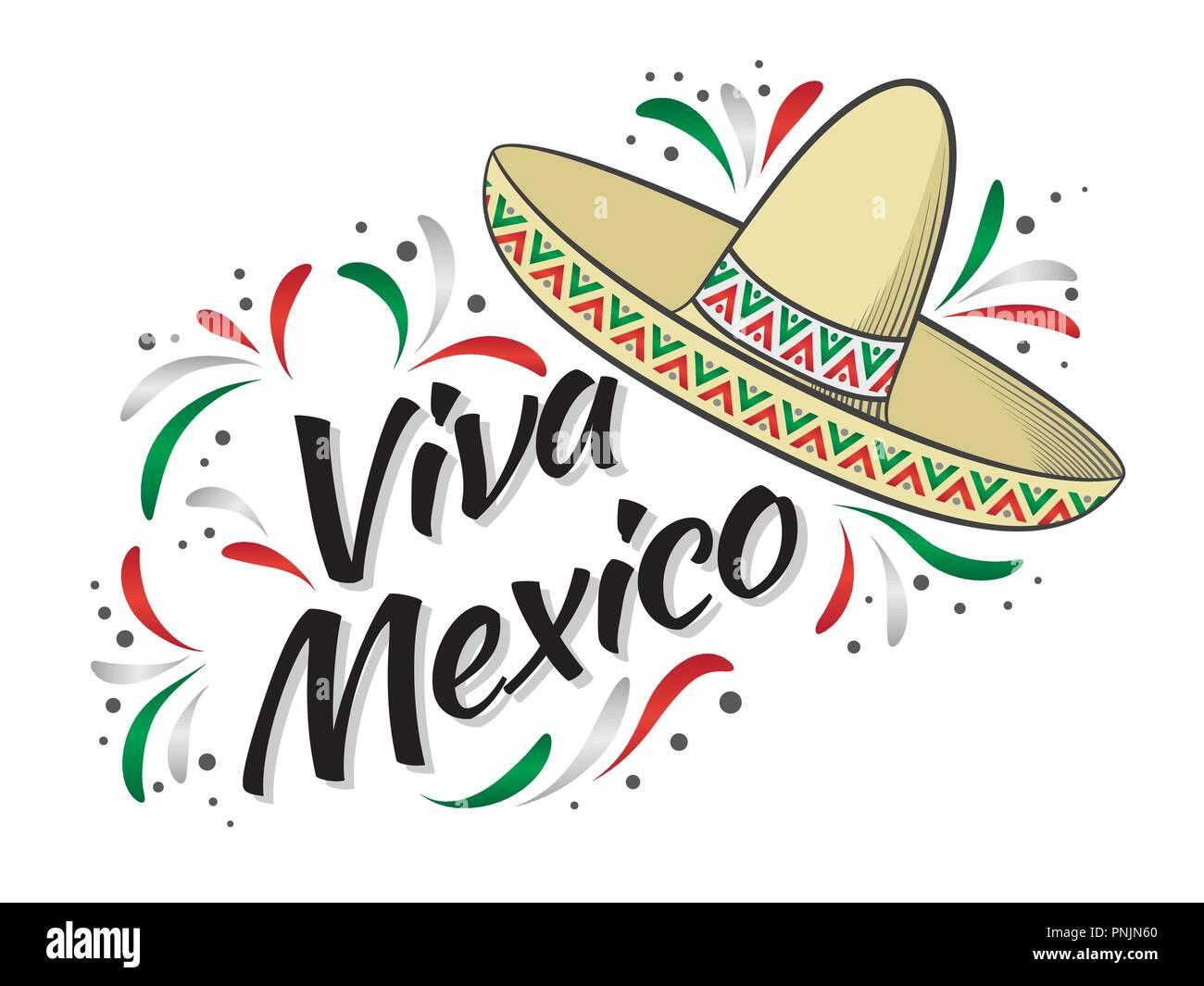 Rotulación Viva México Tradicional Frase Fiesta Mexicana