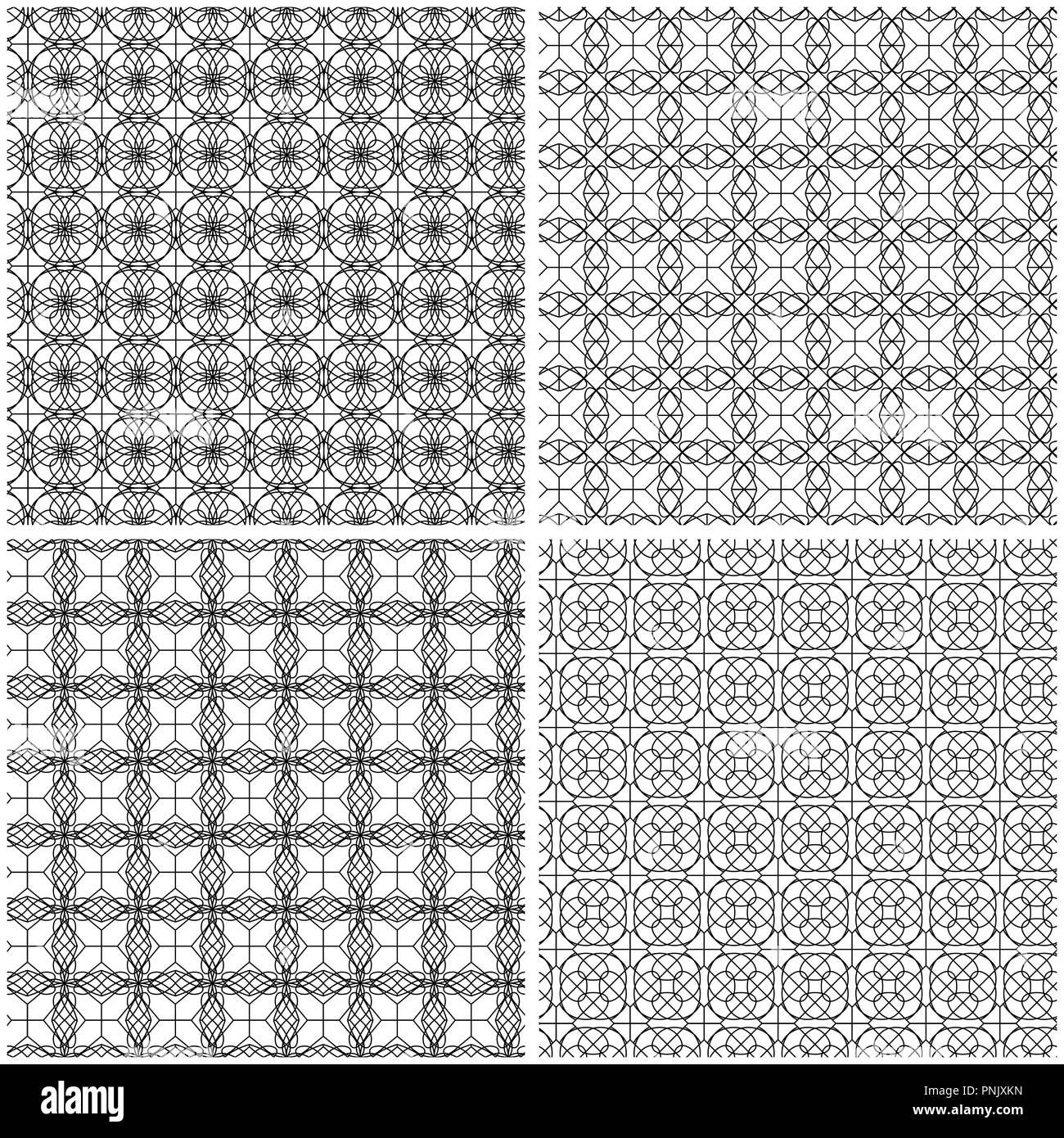 Conjunto de cuatro patrones abstractos de malla sin costuras con ...
